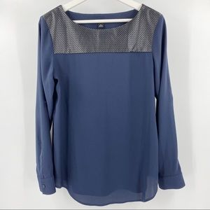 Ann Taylor blue blouse with faux leather detail